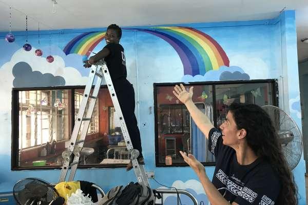 sarah and mural