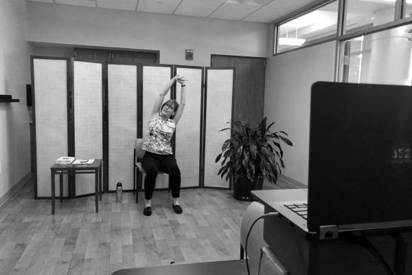 Tammy teaching yoga virtually