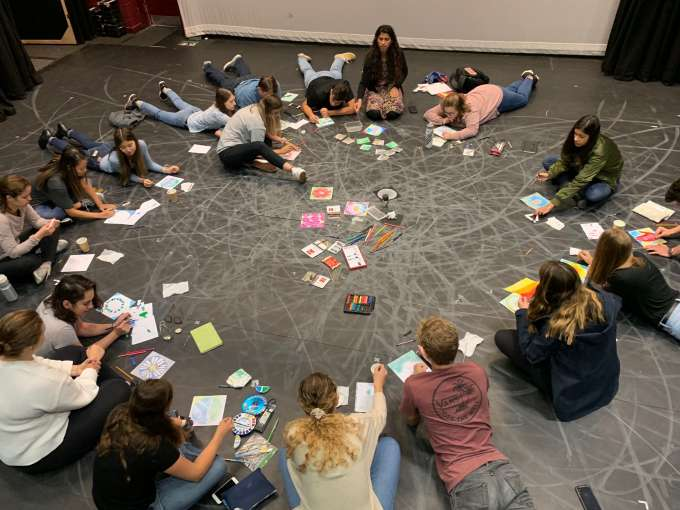 The study abroad course students creating with Sarah.